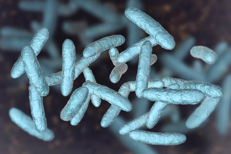 Bactéries probiotiques, microbiote intestinal normal, illustration 3D. Bactéries utilisées comme traitement probiotique, yaourts, aliments sains