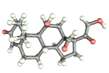 Molecule of aldosterone hormone, 3D illustration. It is mineralocorticoid hormone produced by adrenal gland Stock Photo
