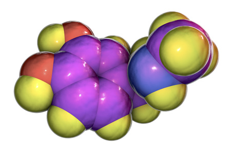 Epinephrine molecule, 3D illustration. A hormone produced by adrenal gland, it has effect on blood pressure, lypolysis, glycogenolysis 版權商用圖片