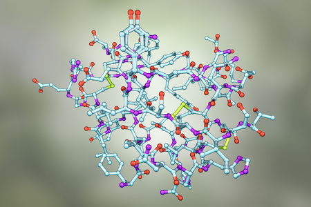 Molecular model of insulin hormone, 3D illustration. It is produced by pancreas and takes part in glucose and lipid metabolism