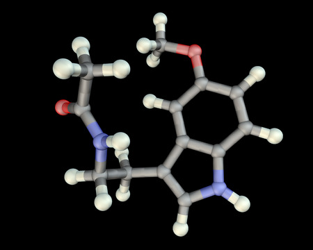 Melatonin, a hormone produced by the pineal gland and used in the treatment of insomnia, 3D illustration Stock Photo