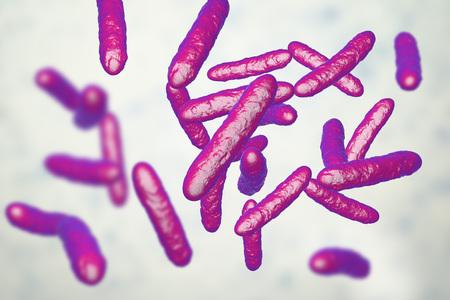 Probiotic bacteria, normal intestinal microflora, 3D illustration. Bacteria used as probiotic treatment, yoghurts, healthy food Imagens