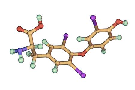 Molecule of triiodothyronine, T3, a hormone produced by thyroid gland, 3D illustration