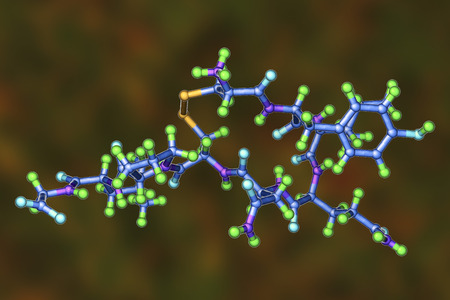 Molecule of oxytocin, a hormone released from the neurohypophysis, 3D illustration. It causes uterine contraction and milk ejection, used in gynecology and lactation treatment
