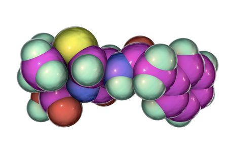 Molecular model of penicillin antibiotic, 3D illustration. It is one of the first discovered antibiotics
