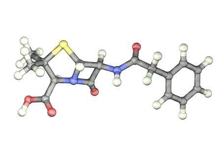 Molecular model of penicillin antibiotic, 3D illustration. It is one of the first discovered antibiotics Reklamní fotografie