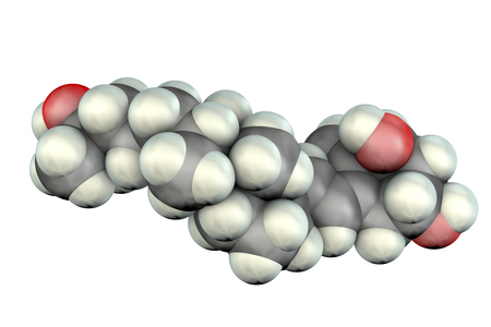 Calcitriol molecule, activated form of vitamin D3 used in the treatment of calcium deficiency with hypoparathyroidism, 3D illustration