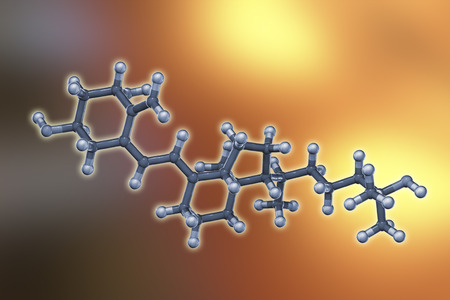 Calcitriol molecule, activated form of vitamin D3 used in the treatment of calcium deficiency with hypoparathyroidism, 3D illustration Stock Photo