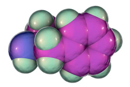 Amphetamine molecule, a powerful stimulant of central nervous system and sympathomimetic, 3D illustration Stock Photo