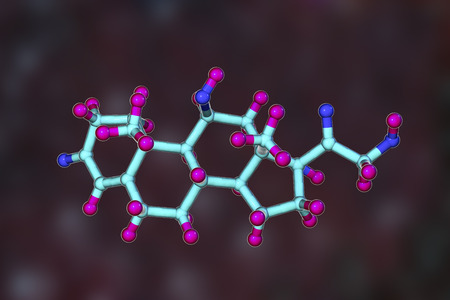 Molecule of cortisol hormone, 3D illustration. Cortisol is a steroid hormone of glucocoticoid class made in the cortex of adrenal glands. Used as medication it is called hydrocortisone 写真素材