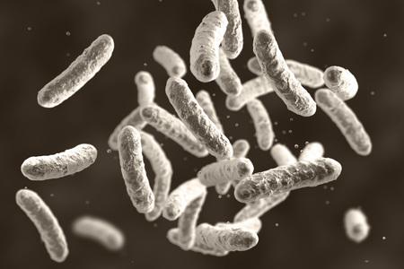 Microbe, microorganism, rod-shaped bacterium. 3D illustration of medically important bacteria Standard-Bild - 118061615