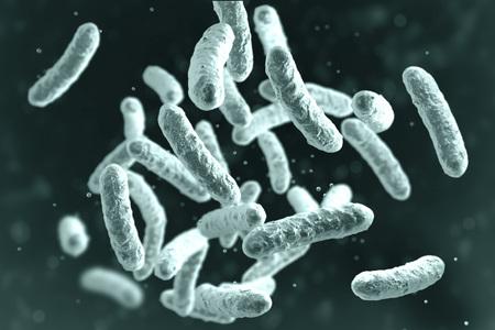 Microbe, microorganism, rod-shaped bacterium. 3D illustration of medically important bacteria Standard-Bild - 119237810