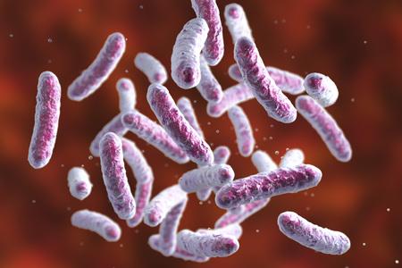 Microbe, microorganism, rod-shaped bacterium. 3D illustration of medically important bacteria Standard-Bild - 118061622