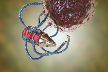 Nanobot attacking cancer cell, nanotechnology medical concept, 3D illustration. Nano sized robots developed to treat cancer Reklamní fotografie