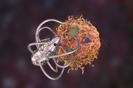 Nanobot attacking cancer cell, nanotechnology medical concept, 3D illustration. Nano sized robots developed to treat cancer Stock Photo