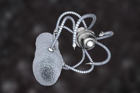 Nanobot attacking bacterium, nanotechnology medical concept, 3D illustration. Nano sized robots developed to treat infections Reklamní fotografie