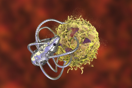 Nanobot attacking cancer cell, nanotechnology medical concept, 3D illustration. Nano sized robots developed to treat cancer Stock Photo