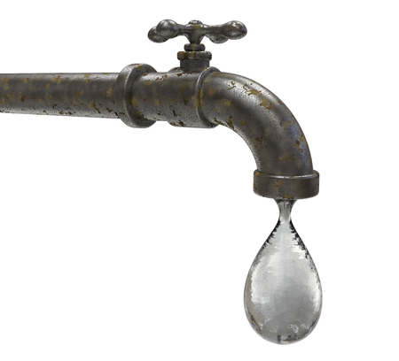 Safety of drinking water concept, 3D illustration showing tap with water drop Banco de Imagens