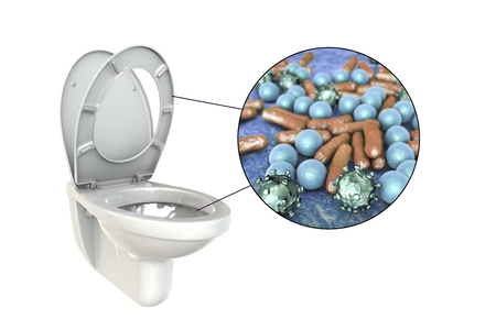 Toilet microbes, conceptual 3d illustration isolated on white background
