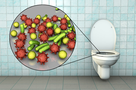Toilet microbes, conceptual 3D illustration. Transmission of diarrheal infections. Closeup view of bacteria transmitted by fecal-oral mechanism, such as Escherichia coli, Salmonella, Shigella and other