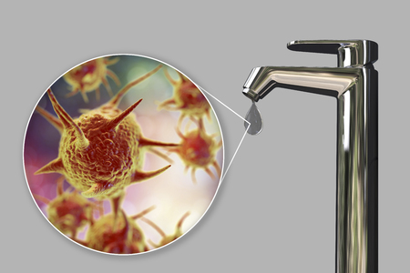 Safety of drinking water concept, 3D illustration showing parasitic microorganisms contaminating drinking water