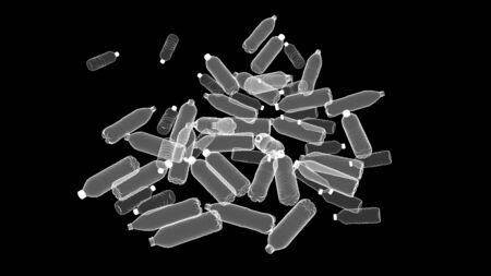 Plastic bottles isolated on black background, 3D illustration, monochrome image 写真素材