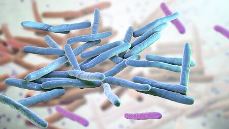 Mycobacterium leprae bacteria, the causative agent of leprosy, 3D illustration