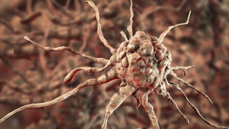 Cancer cell, tumour cell, close-up view, 3D illustration 写真素材 - 133694984