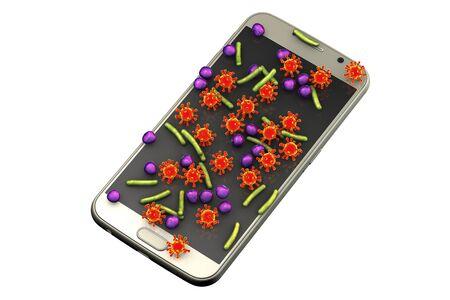 Microbial contamination of a mobile phone, smartphone, conceptual image, 3D illustration Archivio Fotografico