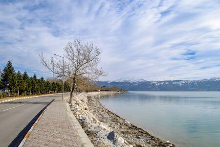 Turkey, Isparta province, beautiful Egirdir lake in winter season