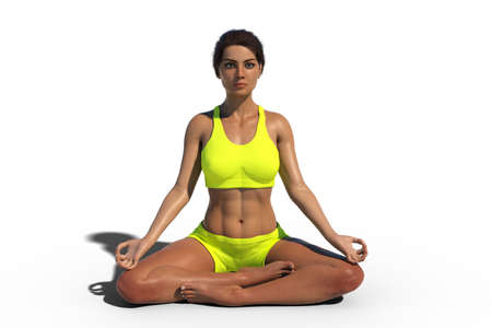 Female in Lotus yoga pose, illustration