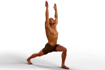 Yoga pose Warrior 1, or Virabhadrasana 1, 3D illustration Standard-Bild