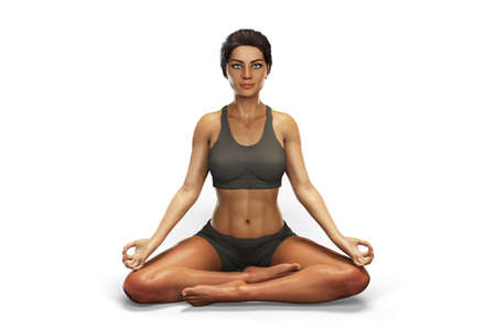 Female in Lotus yoga position, or Padmasana
