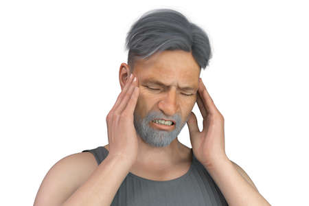 Headache, migraine, stroke, conceptual 3D illustration showing a senior man with pain in head Standard-Bild