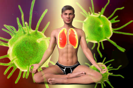 A man in Lotus yoga position with highlighted lungs, surrounded by microbes that cannot harm him, 3D illustration. Respiratory exercises and meditation for recovery and prevention of COVID-19 Standard-Bild