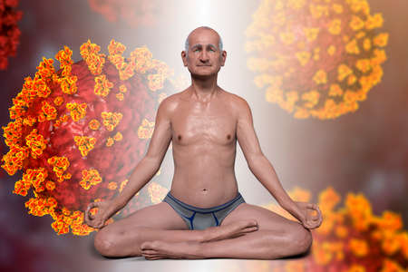 A senior man in Lotus yoga position with highlighted lungs, surrounded by viruses that cannot harm him, 3D illustration. Respiratory exercises and meditation for recovery and prevention of COVID-19