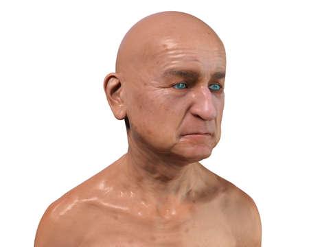Old man, isolated on white background, 3D illustration Standard-Bild
