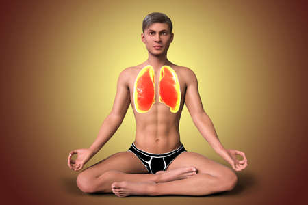 A man in Lotus yoga position, or Padmasana, with highlighted lungs, 3D illustration. Respiratory exercises and meditation for recovery and prevention of COVID-19