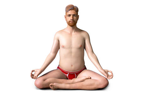 A man in Lotus yoga position, or Padmasana, 3D illustration. Recovery and prevention of COVID-19. Respiratory exercises making lungs stronger Standard-Bild