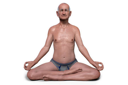 A senior man in Lotus yoga position, or Padmasana, 3D illustration. Recovery and prevention of COVID-19. Respiratory exercises making lungs stronger