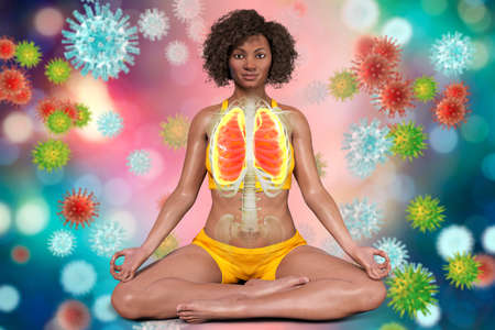 A woman in Lotus yoga position with highlighted lungs, surrounded by viruses that cannot harm her, 3D illustration. Respiratory exercises and meditation for recovery and prevention of COVID-19