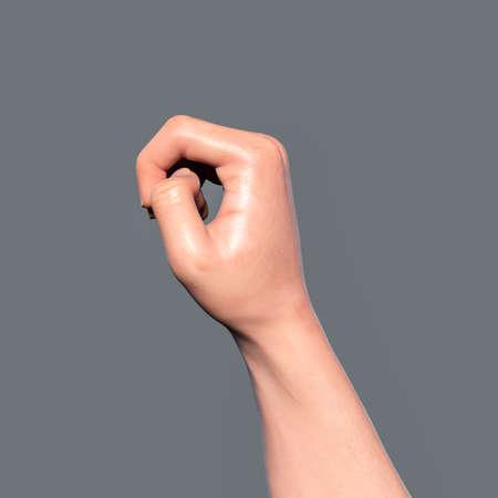 British, Australian and New Zealand Sign Language (BANZSL) sign number 0, 3D illustration