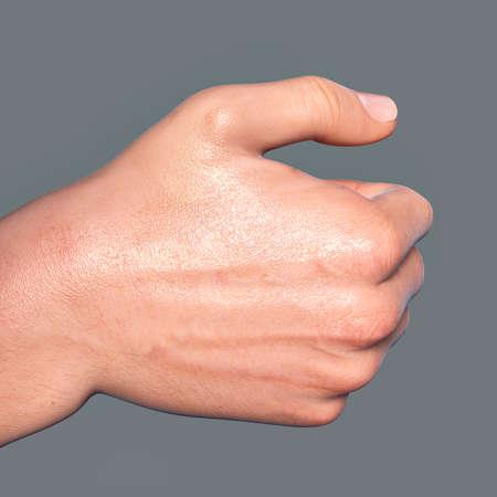 British, Australian and New Zealand Sign Language (BANZSL) sign number 6, 3D illustration