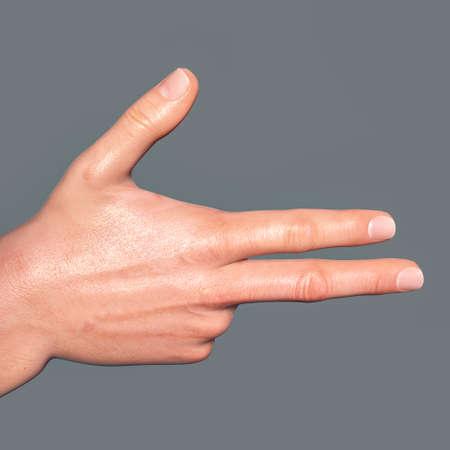 British, Australian and New Zealand Sign Language (BANZSL) sign number 8, 3D illustration Standard-Bild