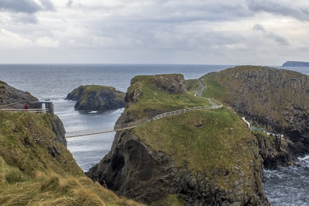 Carrick-a-Rede Rope Bridge in County Antrim at  Northern Ireland Stock Photo - 19630365