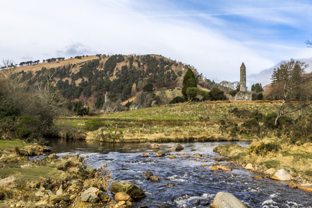 Round Tower at Glendalough in County Wicklow at Ireland photo