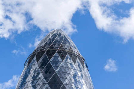 30 st mary axe: London, United Kingdom - June 24, 2012: close-up detail of The Gherkin skyscraper building