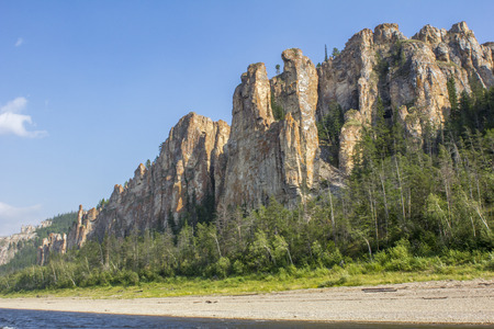 lena: Lena Pillars along Lena River in Siberia Russia Stock Photo