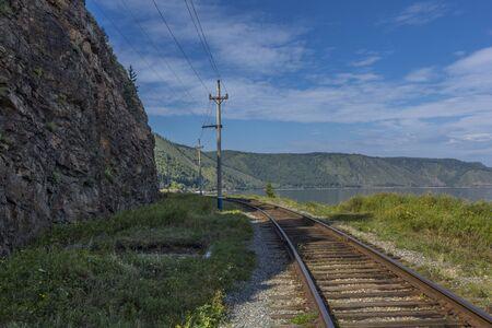 listvyanka: Circum-Baikal railway and the Baikal Lake at Irkutsk, Russia