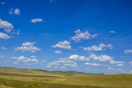 mongolia: mongolian steppe landscape at Mongolia Stock Photo